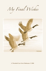 Book cover for My Final Wishes. Features three flyinf Canadian geese on a neutral background.